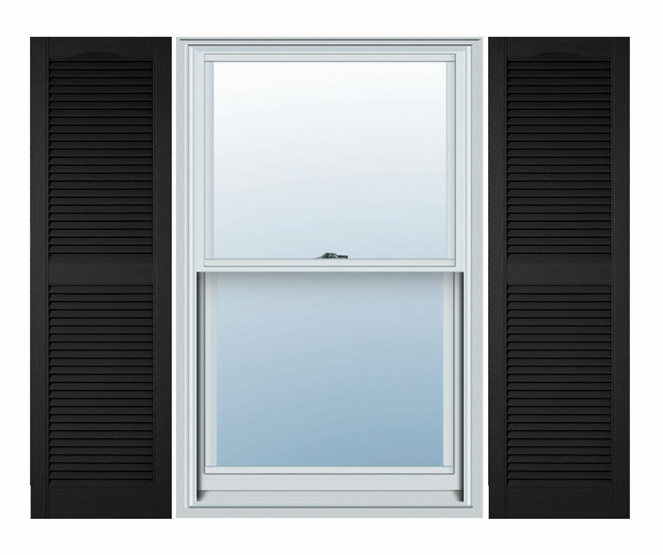 Vinyl Standard Cathedral Top Center Mullion Open Louver Shutter