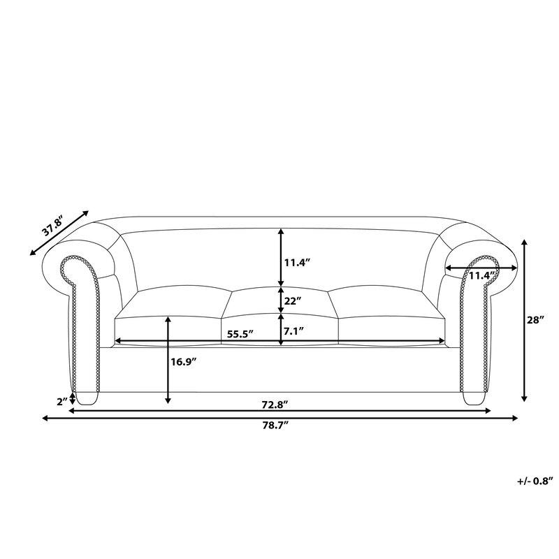 Home Loft Concepts 3 Seater Chesterfield Sofa Wayfair