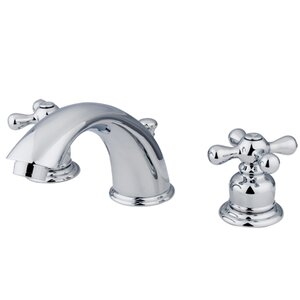 Victorian Widespread Bathroom Faucet with Brass Pop-Up Drain