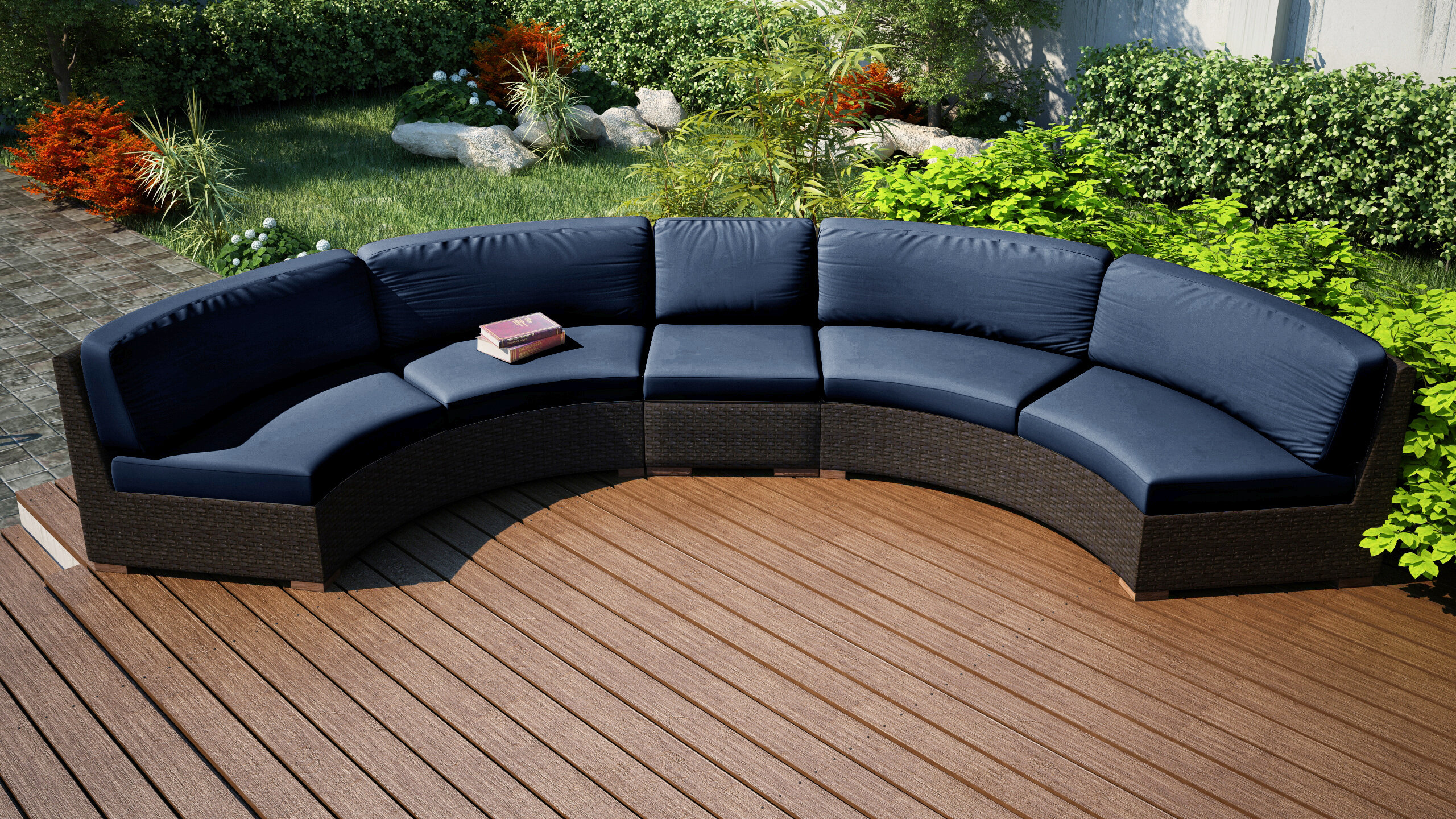 Merveilleux Rosecliff Heights Hodge Extended Curved Patio Sectional With Cushions |  Wayfair
