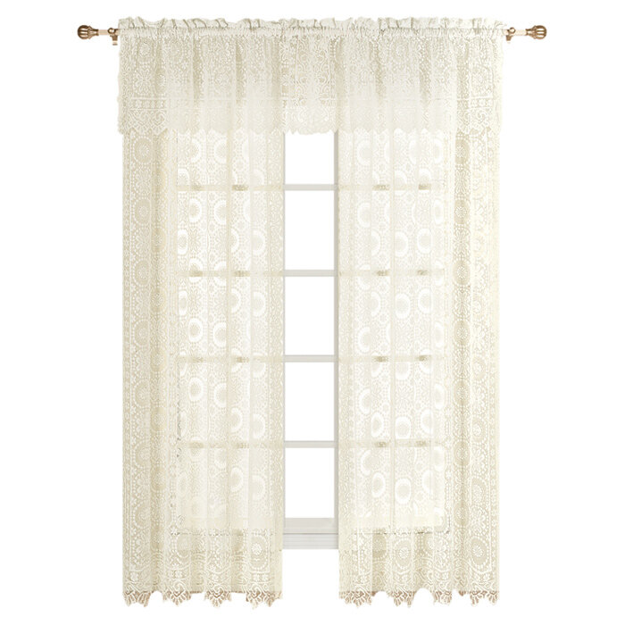 Rochelle Nature Fl Sheer Rod Pocket Single Curtain Panel