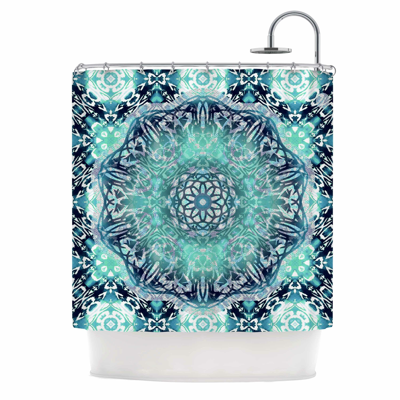 East Urban Home Aqua Ikat Batik Mandala Mixed Media Shower Curtain