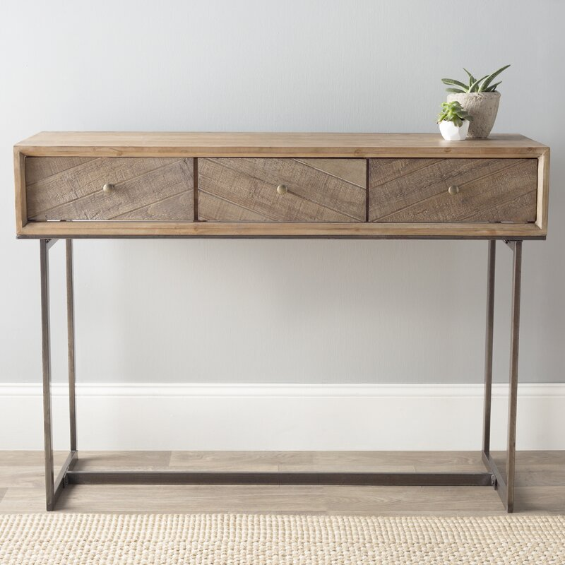 Wood and Metal Console Table. Cole   Grey Wood and Metal Console Table   Reviews   Wayfair