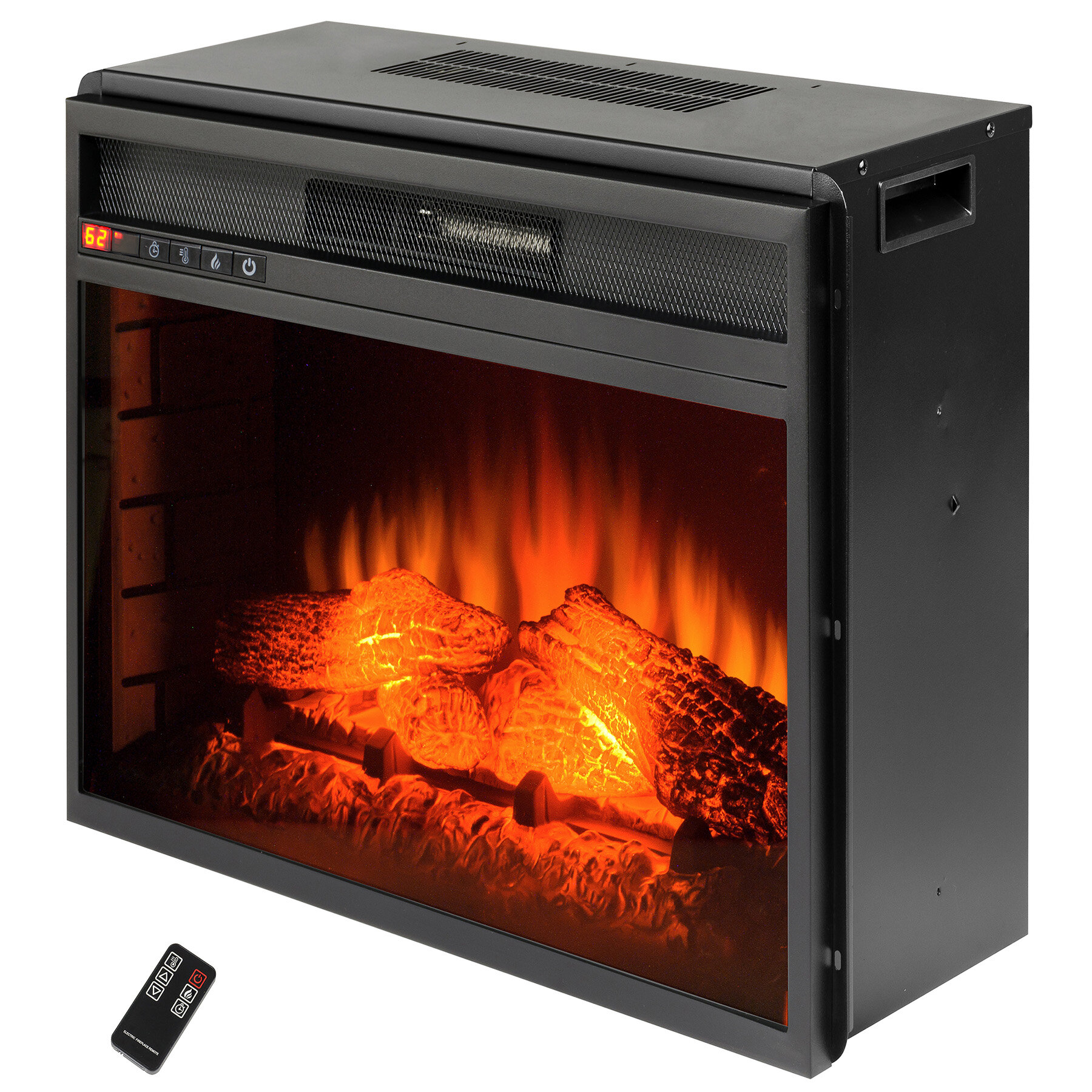 with in heater akdy fireplace remote black control insert and led freestanding glass electric tempered