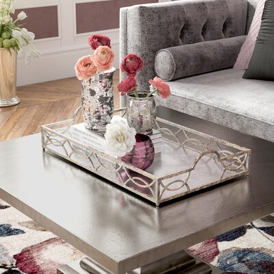 Silver Mirrored Tray For Coffee Table