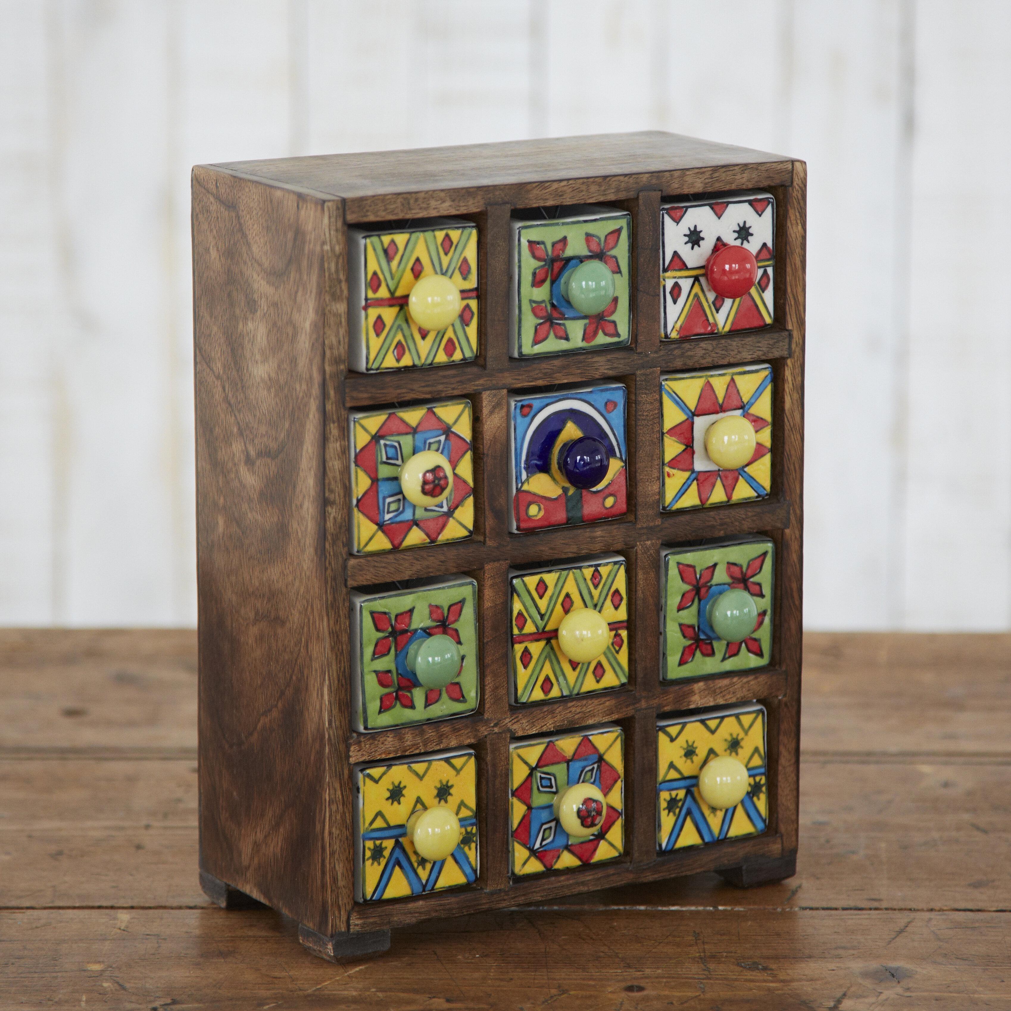 Paper High Fair Trade Mango Wood 12 Ceramic Drawer Jewelry Box Reviews Wayfair Co Uk