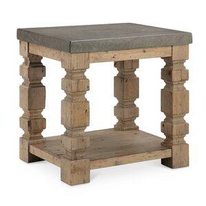 Avis Rectangle Concrete/Wood End Table by La..