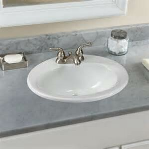Ceramic Oval Drop In Bathroom Sink With Overflow