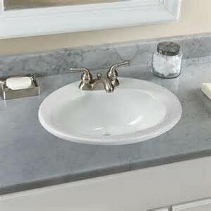 ceramic oval drop in bathroom sink with overflow - Overmount Bathroom Sink