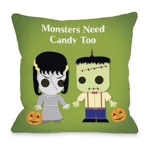 Monsters Need Candy Too Throw Pillow