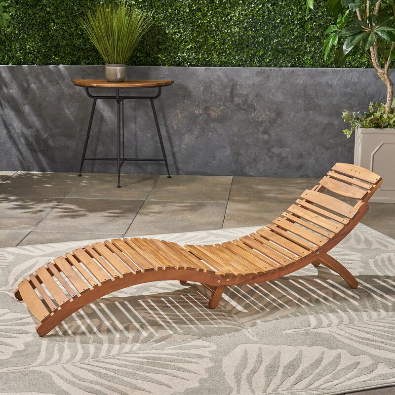Beachcrest Home Tifany Wood Outdoor Chaise Lounge Reviews Wayfair