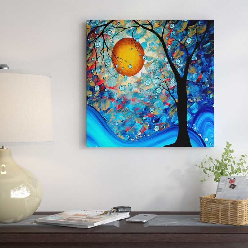 Blue essence original painting print on wrapped canvas