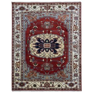 Galilee Serapi Hand-Woven Wool Red/Blue/Beige Area Rug