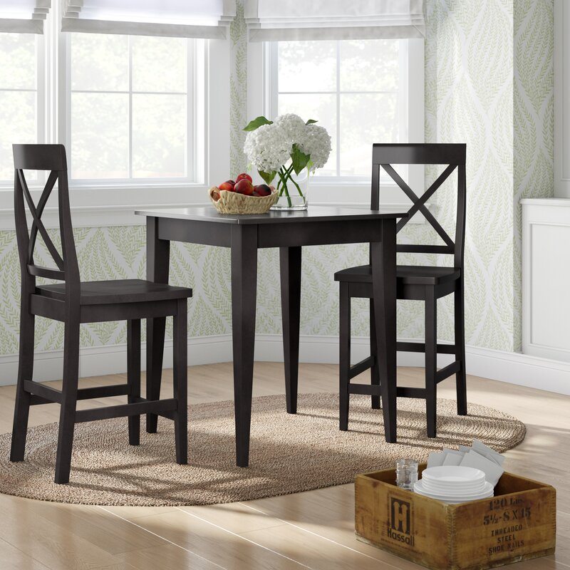 40 X 40 X 40 Square Coffee Table Ac4 Laminate Floor: Charlton Home Pershore 3 Piece Pub Table Set With Tapered
