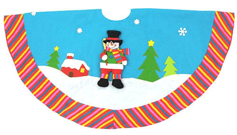 northlight winter wonderland snowman christmas tree skirt wayfair - Teal Christmas Tree Skirt