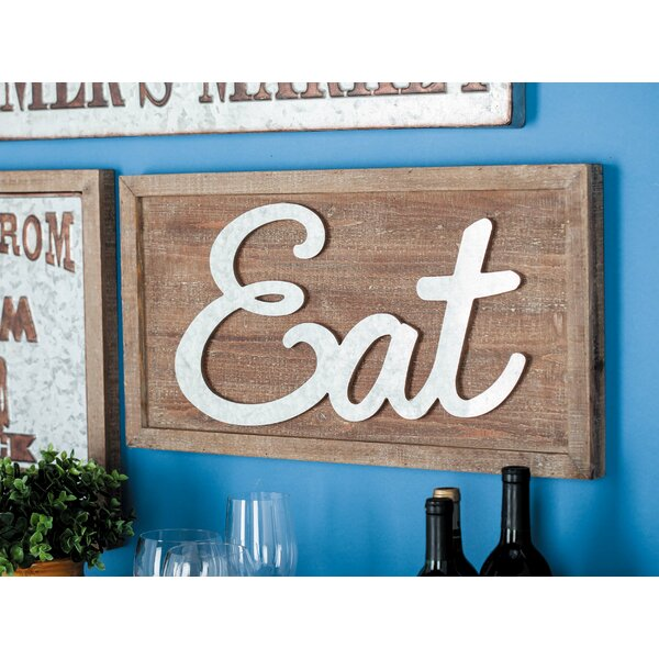 Cole Grey Wood Metal Eat Wall Decor Reviews