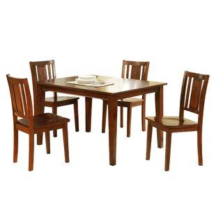Segundo Rubberwood 5 Piece Solid Wood Dining Set