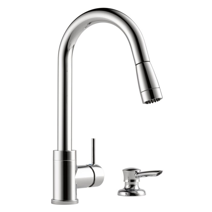 Peerless Faucets Apex Integrated Pull Down Kitchen Faucet with Soap ...