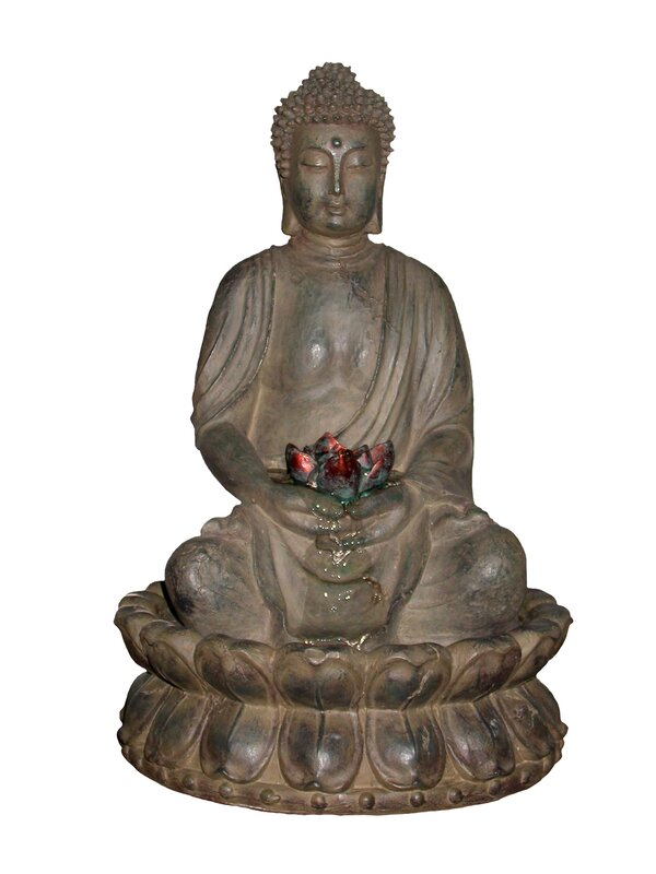 Polyresin Buddha Tabletop Fountain With Light