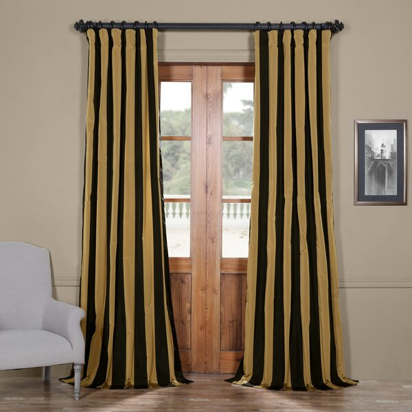 Half Price Drapes Regency Stripe Faux Silk Taffeta Single Curtain
