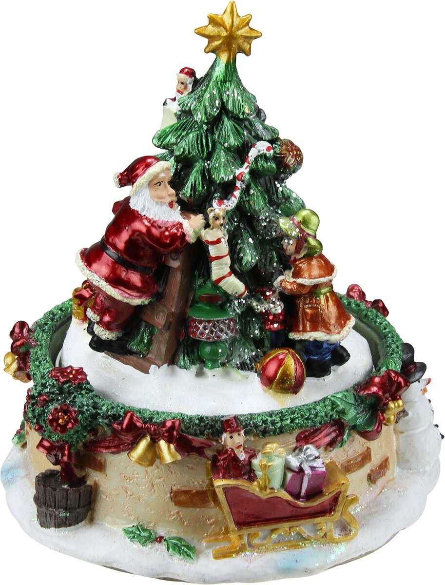 northlight animated santa claus and christmas tree winter scene rotating music box reviews wayfair
