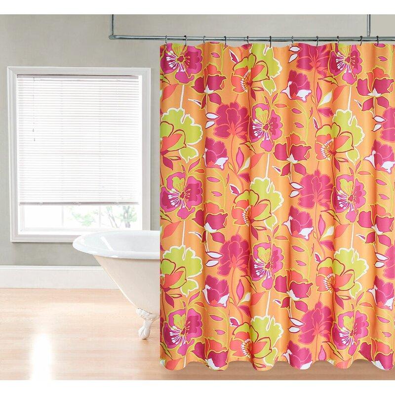 Loraine Retro Neon Floral Fantasy Shower Curtain