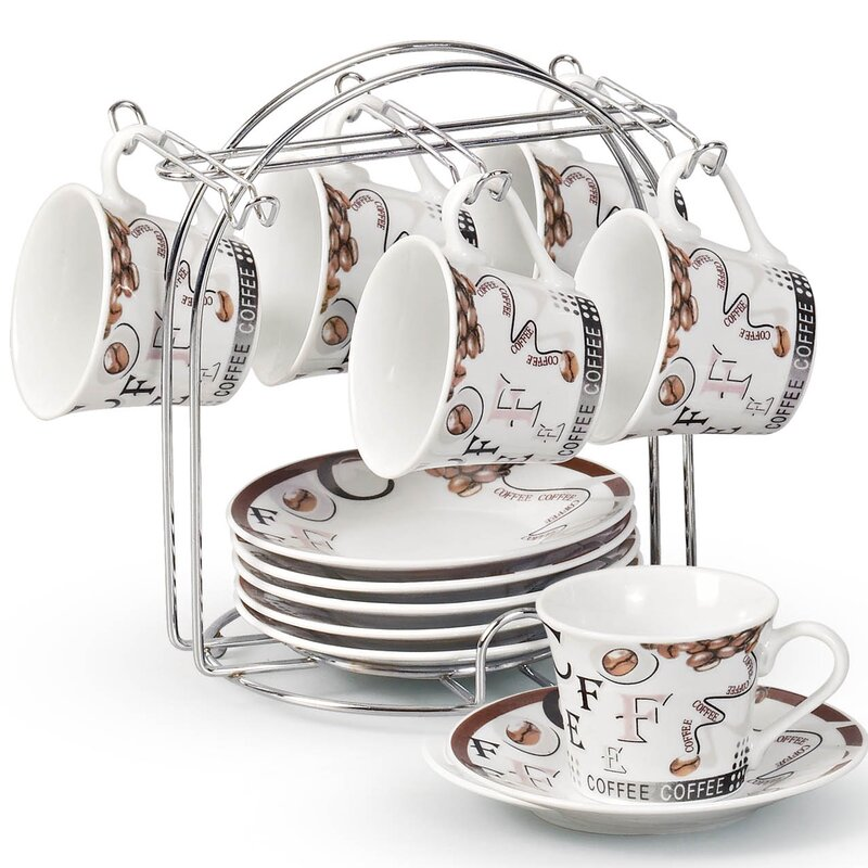 Espresso Cup and Saucer Set with Metal Stand  sc 1 st  Wayfair & Lorren Home Trends Espresso Cup and Saucer Set with Metal Stand ...