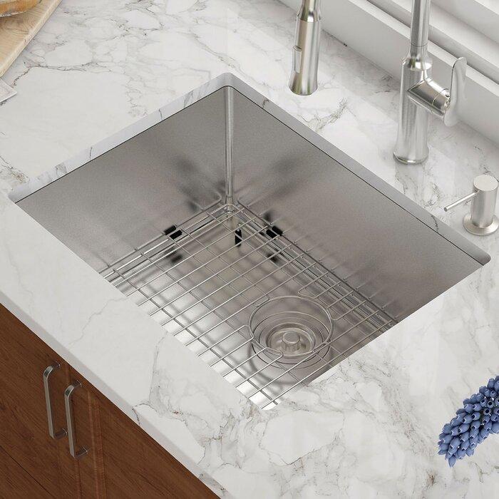 23 L X 18 W Undermount Kitchen Sink With Basket Strainer