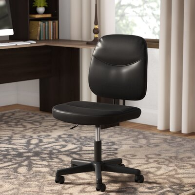 Armless Desk Leather Office Chair & Symple Stuff Armless Desk Leather Office Chair u0026 Reviews | Wayfair