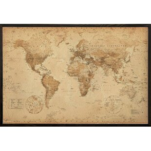 Antique pictures wayfair world map antique wood framed graphic art print poster publicscrutiny Images