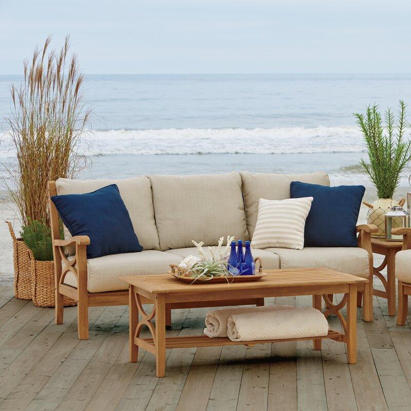 Birch Lane™ Heritage Brunswick Teak Patio Sofa with Cushions ...