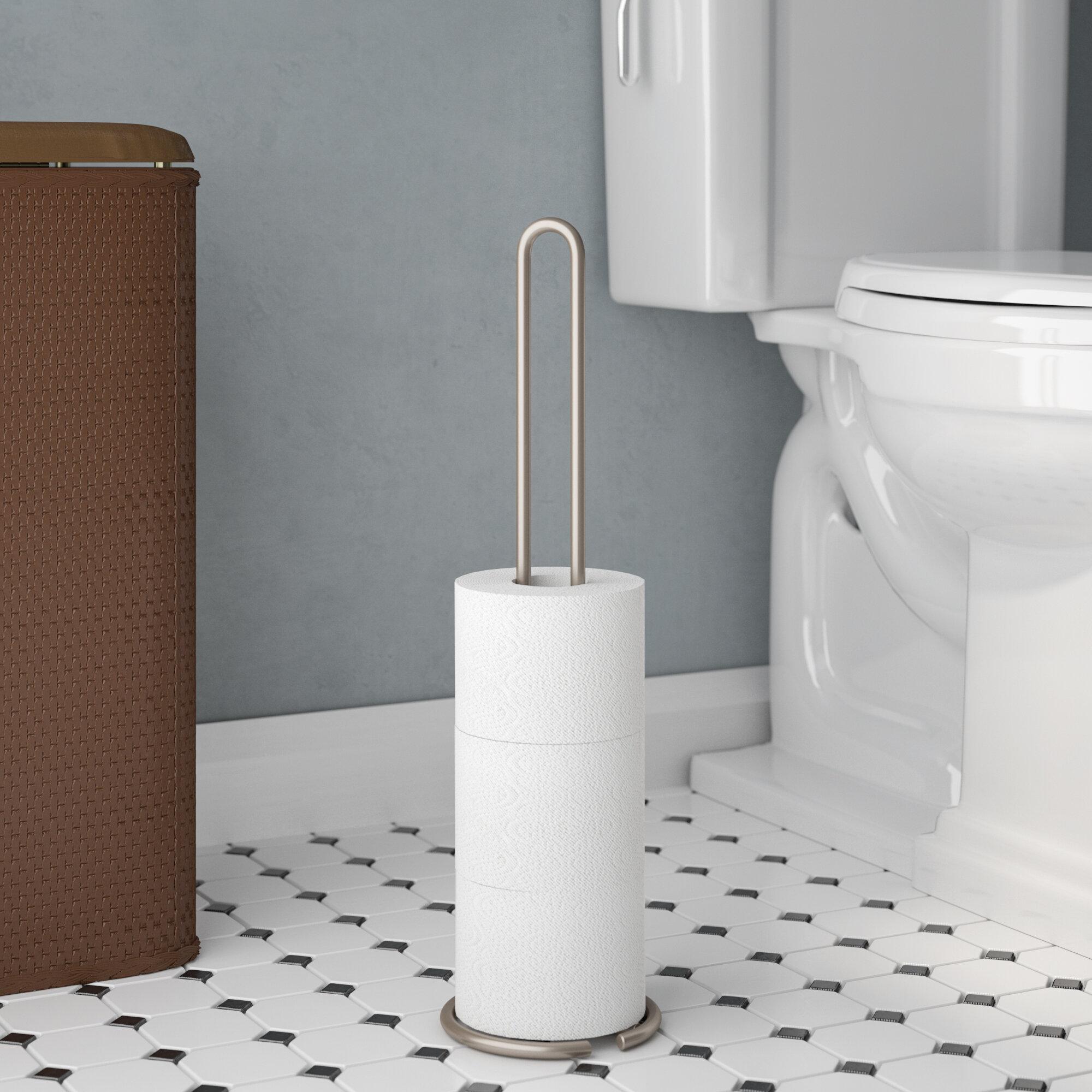 3 Rouleau Libre Debout Papier Toilette Tissue fer Distributeur Rangement Support Stand