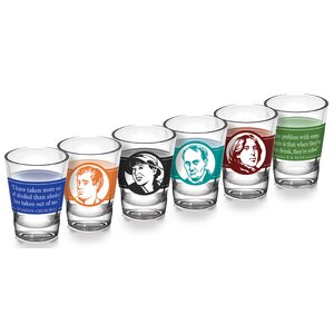 6 Piece Literary Great Drinkers 2 oz. Shot Glass Set (Set of 6)