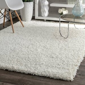 Beverly White Solid Shag Area Rug