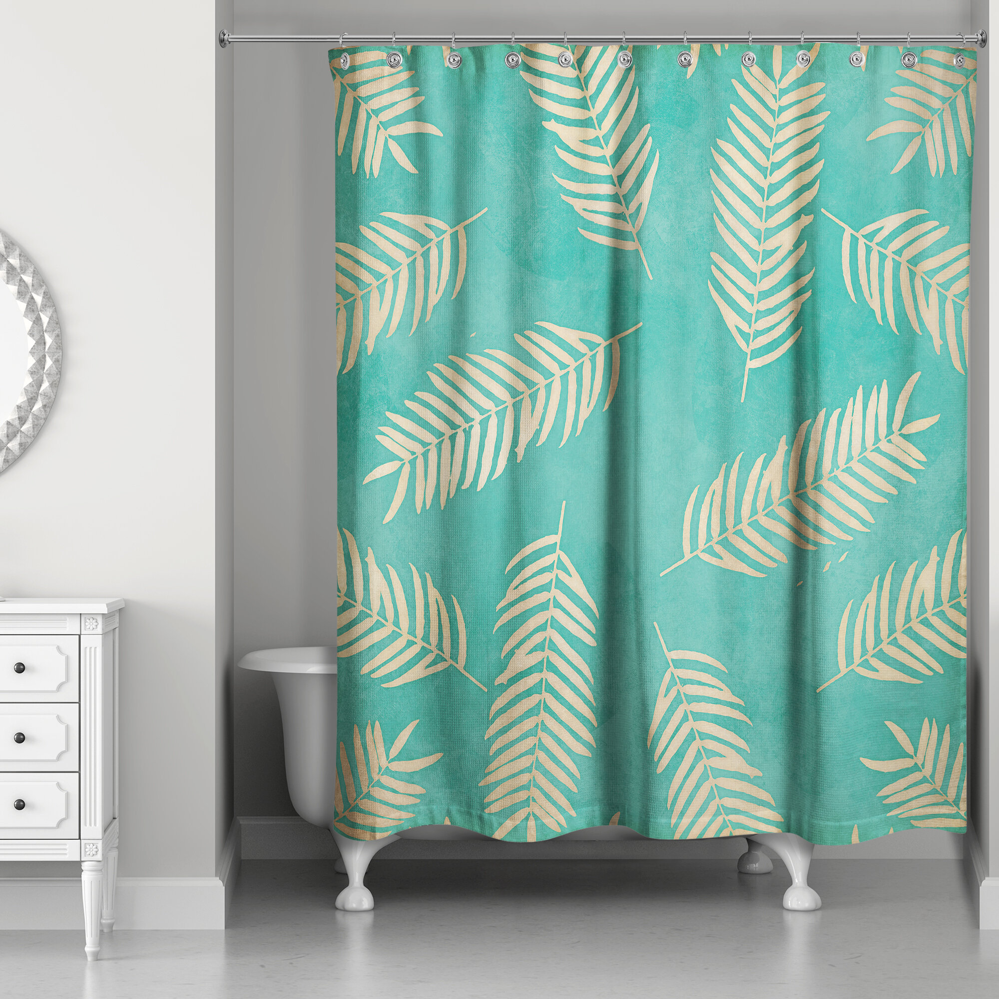 Bungalow Rose Johnathan Fern Pattern Shower Curtain
