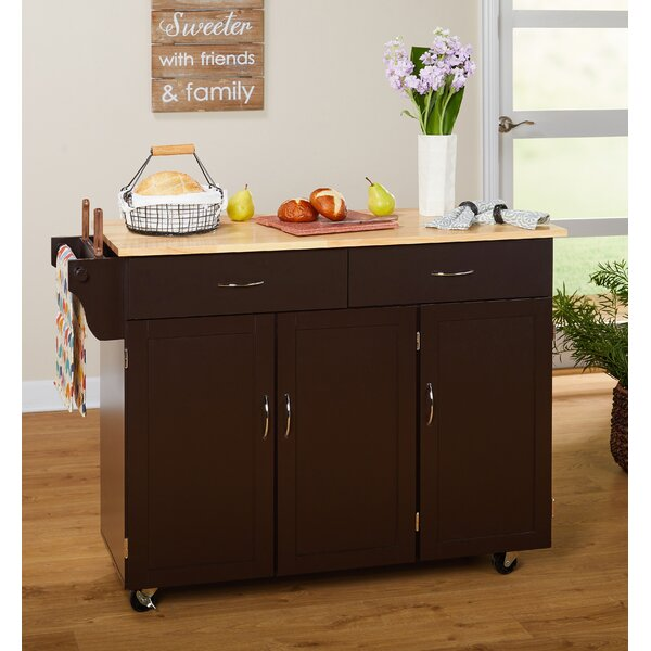 Alcott Hill Sayers Kitchen Island With Wood Top & Reviews