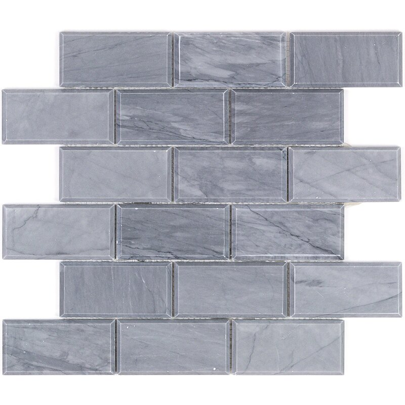 Splashback Tile 2 X 4 Beveled Marble Mosaic In Dark Gray