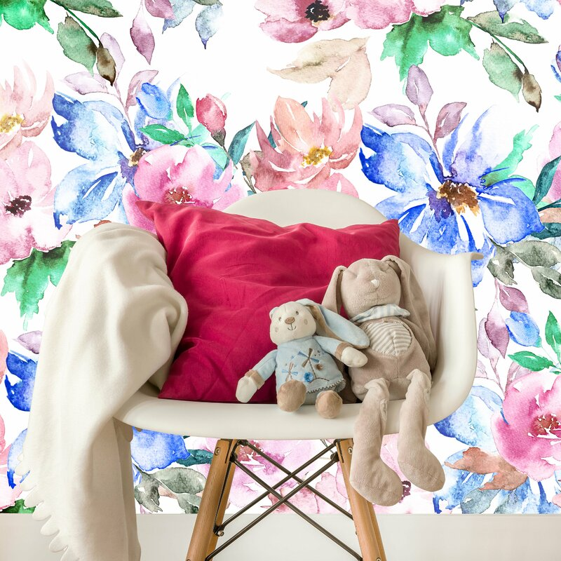 Mersey Removable Nursery Watercolor Flowers 6 58 L X 125 W And Stick Wallpaper
