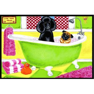 Tub for Two with Poodle and Pug Doormat