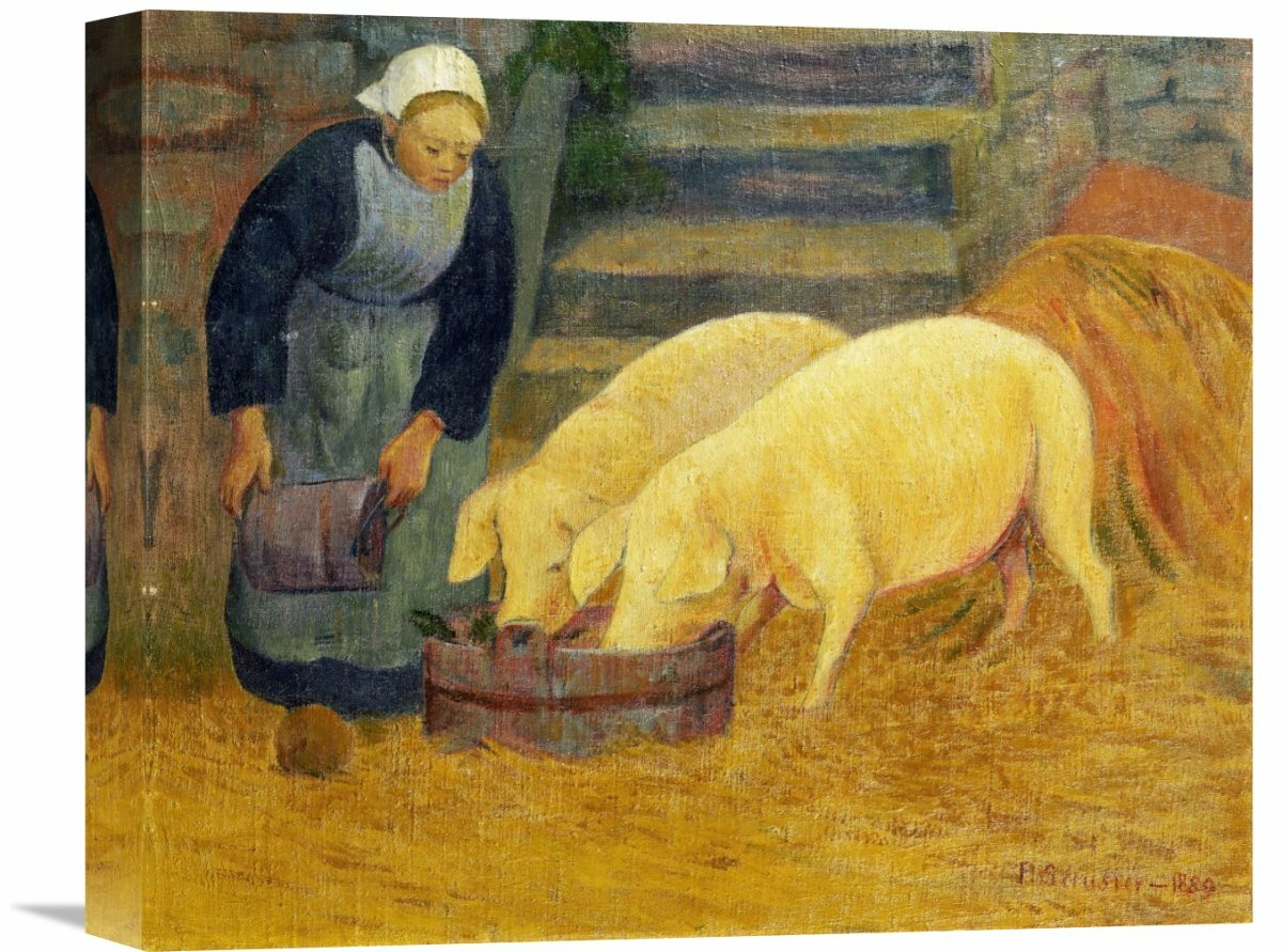 global gallery a young girl feeding two pigs by paul serusier