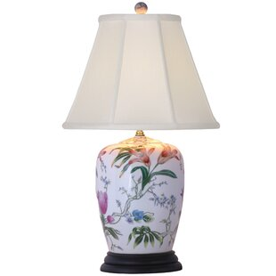 Oriental porcelain lamps wayfair porcelain lily 25 table lamp by oriental furniture aloadofball Images