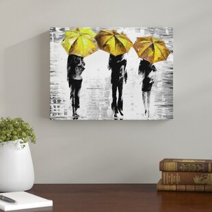3 Umbrellas By Leonid Afremov Painting Print On Wrapped Canvas In Yellow