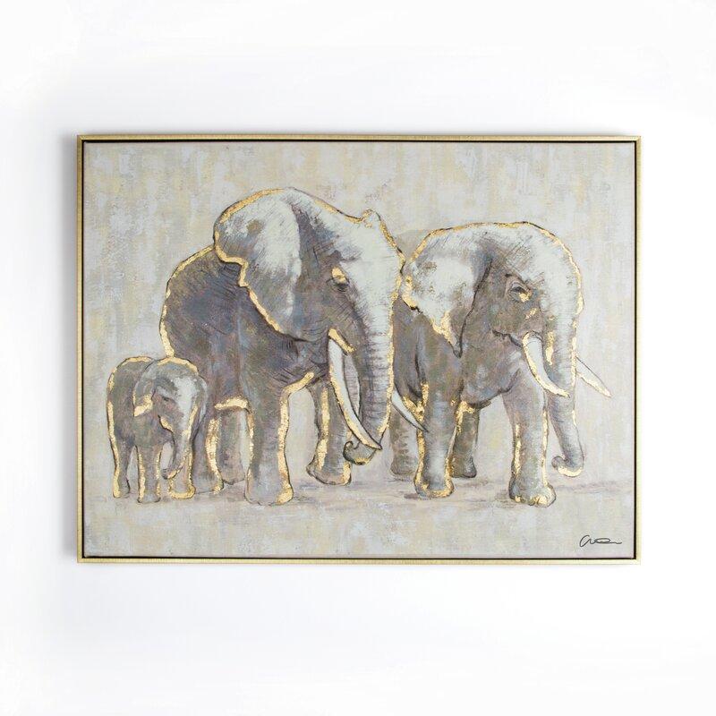 Metallic Elephant Family\' Framed Graphic Art Print on Canvas ...