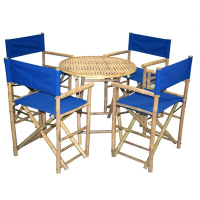 5 Piece Dining Set Bamboo54 Color: Blue