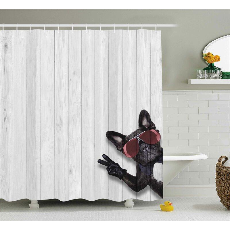 Animal Husky Dog Peace Sign Shower Curtain
