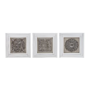 Elegant Styled Gray Metal Wall Art Set (Set Of 3)