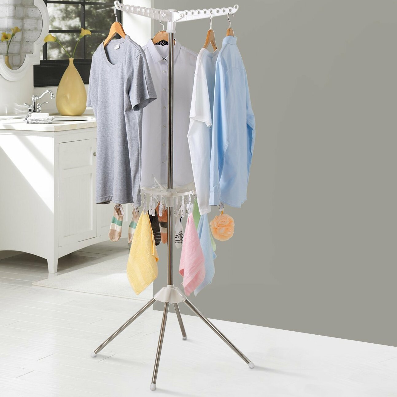 Lifewit Collapsible 2 Tier Clothes Free Standing Drying Rack Hanger Multifunction Stand Reviews Wayfair