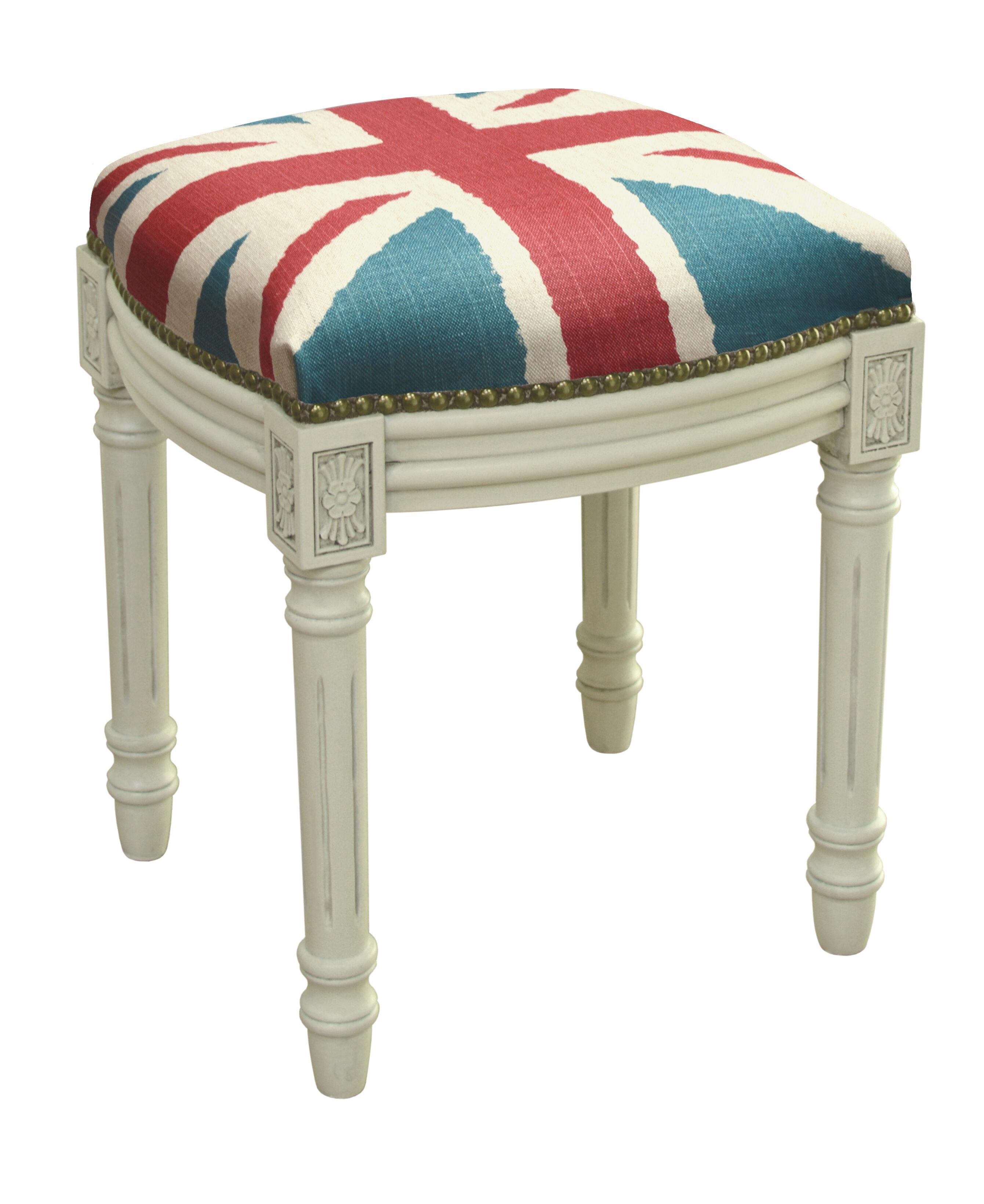123 Creations Britannia Linen Upholstered Vanity Stool