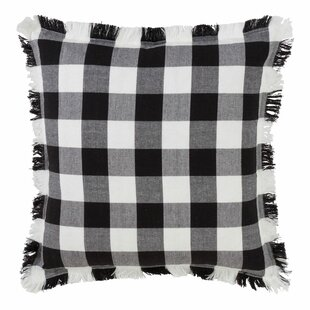 Corina Buffalo Check Plaid Fringe Trim Clic Cotton Throw Pillow
