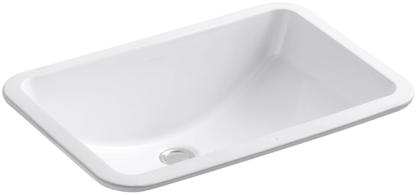 Kohler ladena rectangular undermount bathroom sink with for Kohler ladena white undermount rectangular bathroom sink with overflow